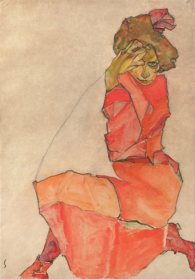 Egon Schiele, Kneeling Female in Orange-Red Dress, 1910, Leopold Museum Vienna Red Dresses Art