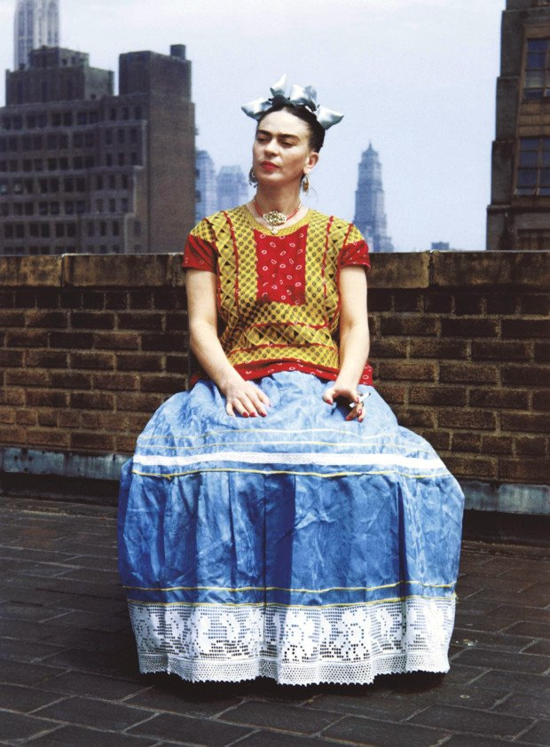 Kahlo's traditional attire particularly emphasized her Mexican heritage in New York, circa 1946. Frida Kahlo clothing