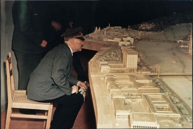 Hitler looking at the model of new Linz Hitlers Art Museum