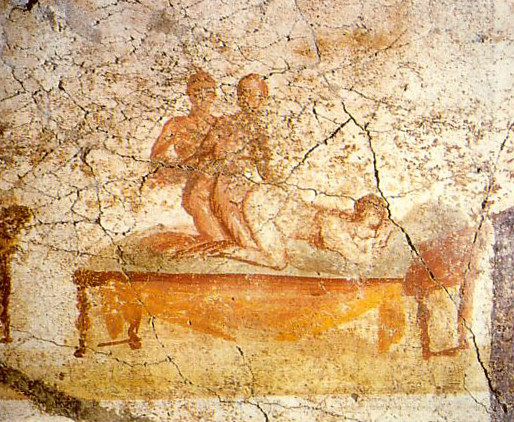 Two men and a woman making love; Pompeian wall painting, from one of the Therms (baths), the south wall of the changing rooms - painted around 79 BC. Erotic Art Pompeii Herculaneum