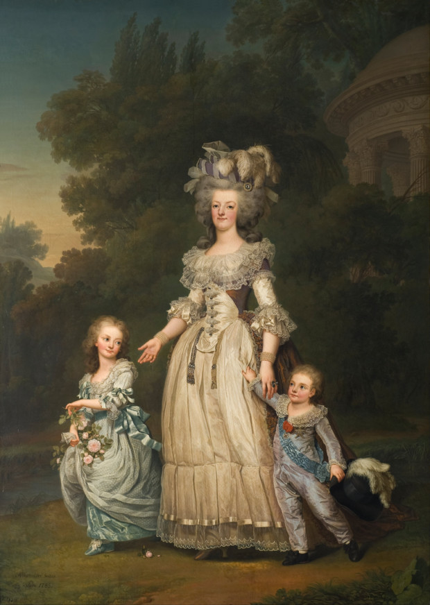 Portraits of Queen Marie Antoinette: Adolf Ulrik Wertmüller, Marie Antoinette with her two eldest children, Marie-Thérèse Charlotte and the Dauphin Louis Joseph, in the gardens of the Petit Trianon, 1785, Nationalmuseum, Stockholm, Sweden.