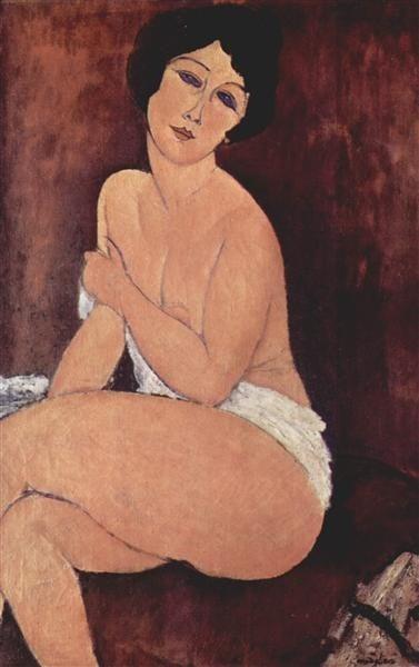 Amedeo Modigliani, Nude Seating On A Sofa, 1917, Private Collection nudes modigliani nudes
