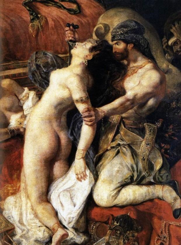 Delacroix Death Sardanapalus Eugene Delacroix, The Death of Sardanapalus, 1827, Musee du Louvre, Paris, detail