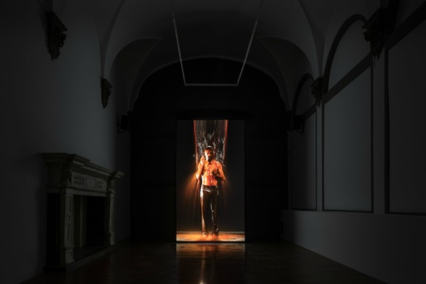 Installation view of Bill Viola's exhibition at the Palazzo Strozzi.