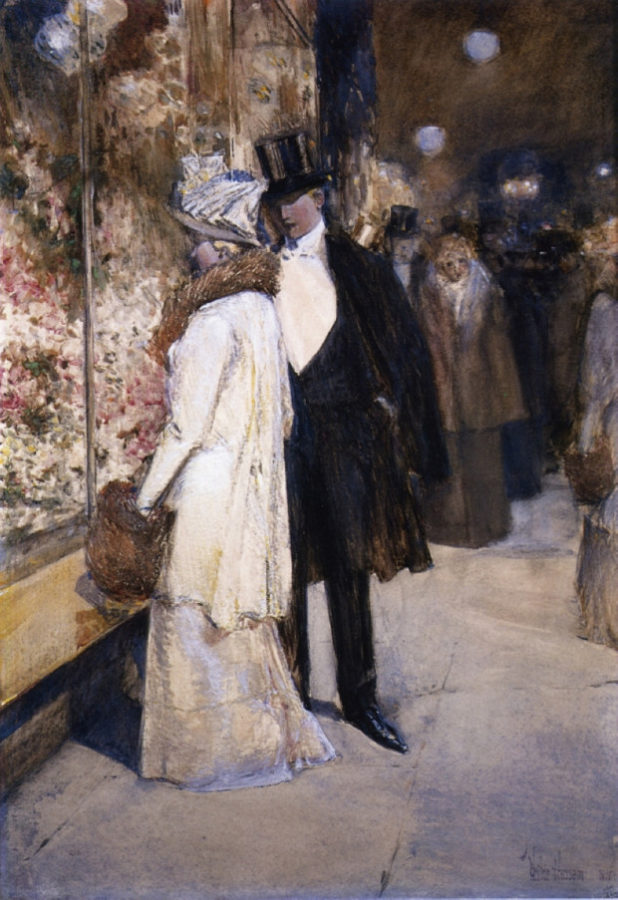 paintings New York Childe Hassam, A New Year's Nocturne, New York, 1892, private collection