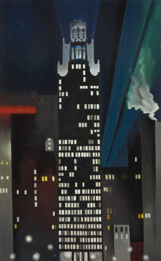 paintings New York Georgia o'Keeffe, New York Night, 1927, The Alfred Stieglitz Collection, Crystal Bridges Museum of American Art, Bentonville, Arkansas