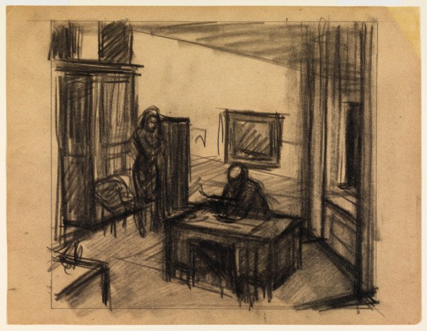 Edward Hopper drawing Edward Hopper sketches Edward Hopper, Study for Office at Night, 1940, Whitney Museum of American of Art