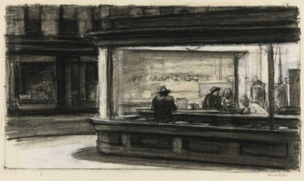 Edward Hopper drawing Edward Hopper sketches Edward Hopper (1882–1967), Study for Nighthawks, 1941 or 1942. Fabricated chalk and charcoal on paper; 11 1/8 x 15 in. (28.3 x 38.1 cm). Whitney Museum of American Art, New York; purchase and gift of Josephine N. Hopper by exchange 2011.65