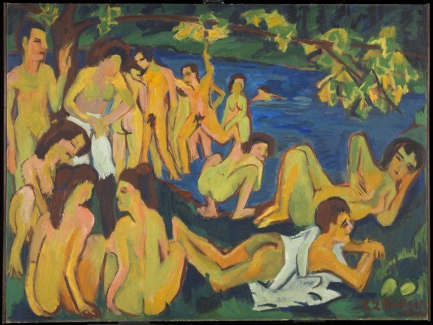 Bathing In Art Emil Ludwig Kirchner;  Bathers at Moritzburg, (1909-26), © Tate, London