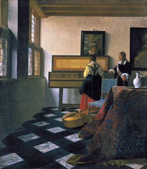 Johannes Vermeer. The Music Lesson or Lady at the Virginals with a Gentleman. 1662-1665. The Royal Collection, London. mirrors in art