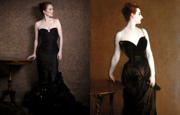 Julianne Moore Peter Lindbergh Julianne Moore by Peter Lindbergh as Madame X by John Singer Sargent for Harper's Bazaar.