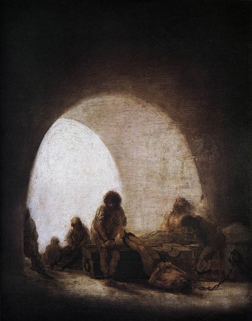francisco goya paintings francisco goya modernist Francisco de Goya A Prison Scene 1810-14 Bowes Museum, Barnard Castle