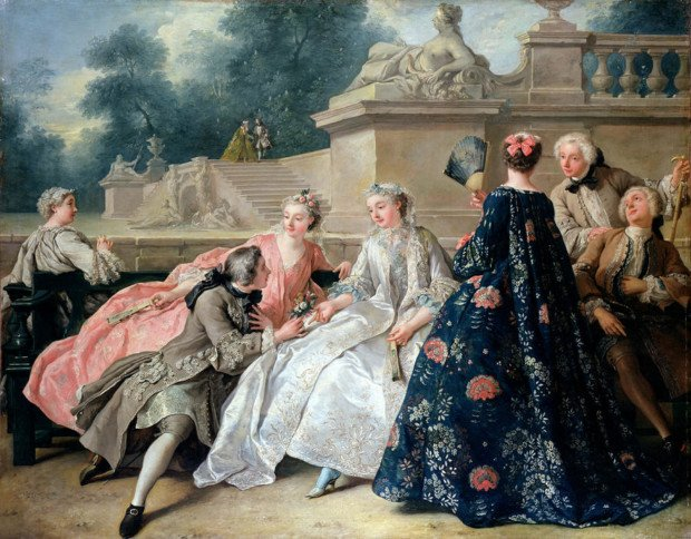 "Jean François de Troy , ""The Declaration of Love"" 1731, Schloss Charlottenburg , women dress in the 18th century"