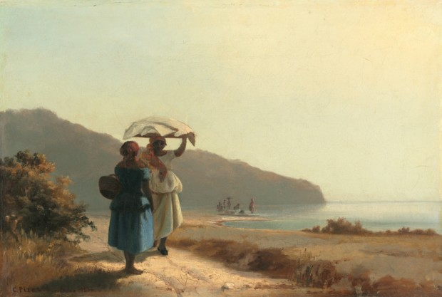 Camille Pissarro St Thomas Camille Pissarro, Two Women Chatting by the Sea, St. Thomas, 1856, private collection