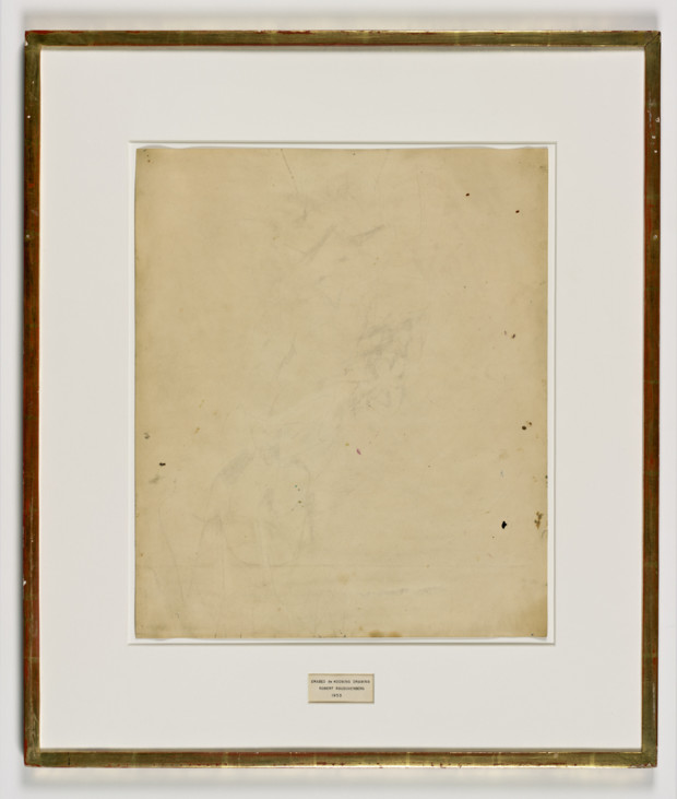 rauschenberg erased de kooning Robert Rauschenberg, Erased de Kooning Drawing, 1953 Robert Rauschenberg, Erased de Kooning Drawing, 1953; traces of drawing media on paper with label and gilded frame, 25 1/4 in. x 21 3/4 in. x 1/2 in. (64.14 cm x 55.25 cm x 1.27 cm); Collection SFMOMA, Purchase through a gift of Phyllis C. Wattis; © Robert Rauschenberg Foundation