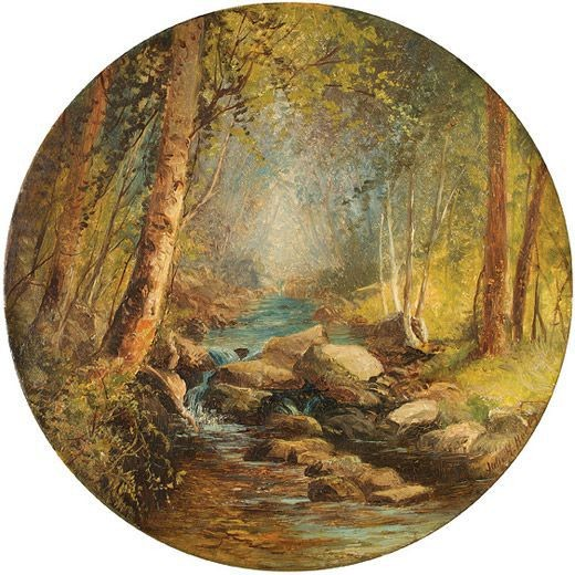 hudson river school female painters Julie Hart Beers; Woodland Scene; 1881; Collection of Jack and Mary Ann Hollihan