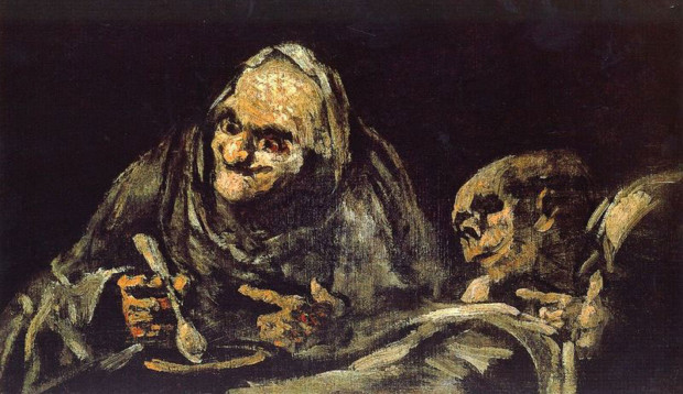 francisco goya paintings francisco goya modernist Francisco de Goya Two Old People Eating 1821-23 Museo del Prado, Madrid