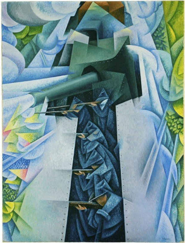 "Manifesto of Futurism Gino Severini's ""Armored Train in Action"" (1915). Futurism sought to ""glorify war."""