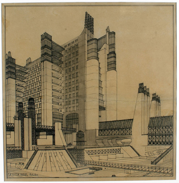 An example of Futurist architecture by Antonio Sant'Elia