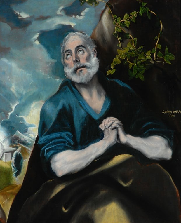 El Greco, The Tears of St Peter, 1585, Bowes Museum, Barnard Castle, El Greco to Goya - Spanish Masterpieces