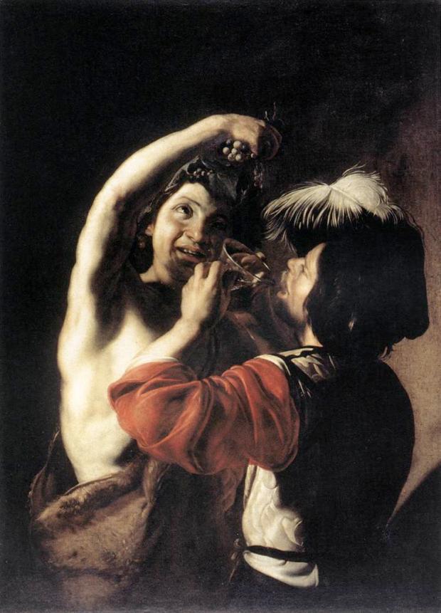 Bartolomeo Manfredi (Italian), Bacchus and a Drinker, 1600-10, Rome, Galleria Nazionale d'Arte Antica