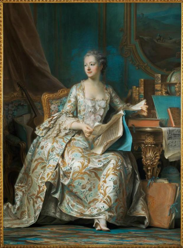 Maurice-Quentin de La Tour, Portrait of Mme de Pompadour, 1755, Louvre, Paris, France.