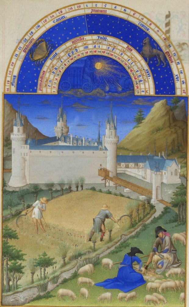 Limbourg brothers, July, Series: Très Riches Heures du Duc de Berry, c. 1416, ©Photo. R.M.N. / R.-G. OjŽda, limbourg brothers
