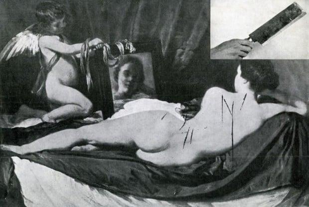art vandalism Vandalised 'Rokeby Venus', 1914