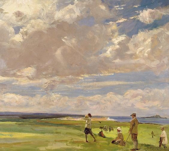 Sir John Lavery, R.A., R.S.A., R.H.A., Lady Astor Playing Golf At North Berwick, 1921, Private collection, golf painting