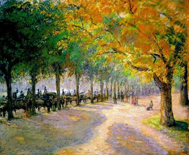 Hyde Park, Camilie Pissaro, 1890, Tokyo Fuji Art Museum, best landscape paintings