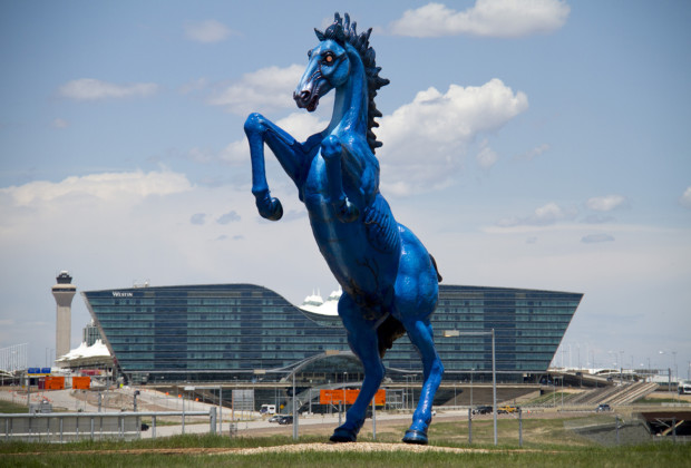 Luis Jimenez, Blue Mustang, 2008, Denver International Airport