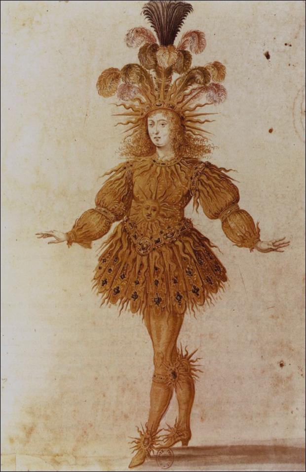 Anonymous French, Louis XIV as Apollo in the Ballet royal de la nuit (Royal Ballet of the Night), 1653, Paris, Bibliothèque Nationale., portraits louis xiv