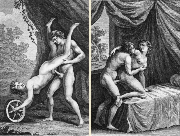 """I Modi History of Erotic Art 18th and 19th century erotic books owned by author and art collector Roger Peyrefitte,were auctioned off and dispersed in 1981.""""L'Aretin Francais"""",engravings after lost """"position"""" paintings by Giulio Romano,illustrating some of Renaissance satyrist Aretino's sonnets."""