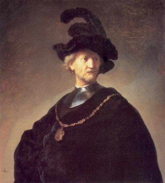 Rembrandt, Old Man with a Black Hat and Gorget, c.1631, Art Institute of Chicago, Chicago, IL, US, hats from painting