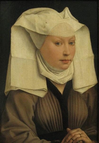 Rogier van der Weyden, Portrait of a Young Woman in a Pinned Hat, 1435, Gemäldegalerie, Berlin, Germany, hats from painting