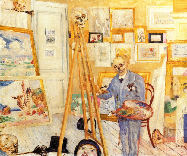 James Ensor, Skeleton at the empty easel, 1896, James Ensor paintings