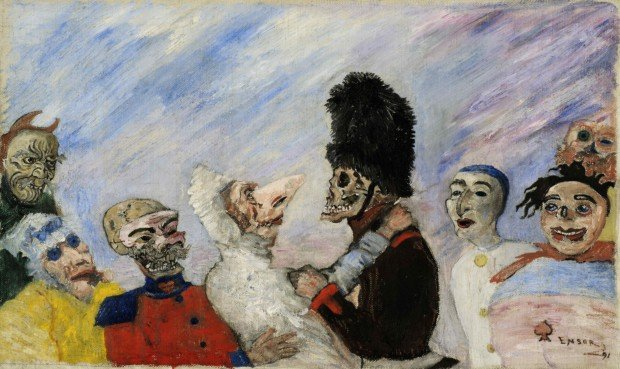 James Ensor, Squelette arretant masques (1891). Photo courtesy Sotheby's / Art digital studio, James Ensor paintings