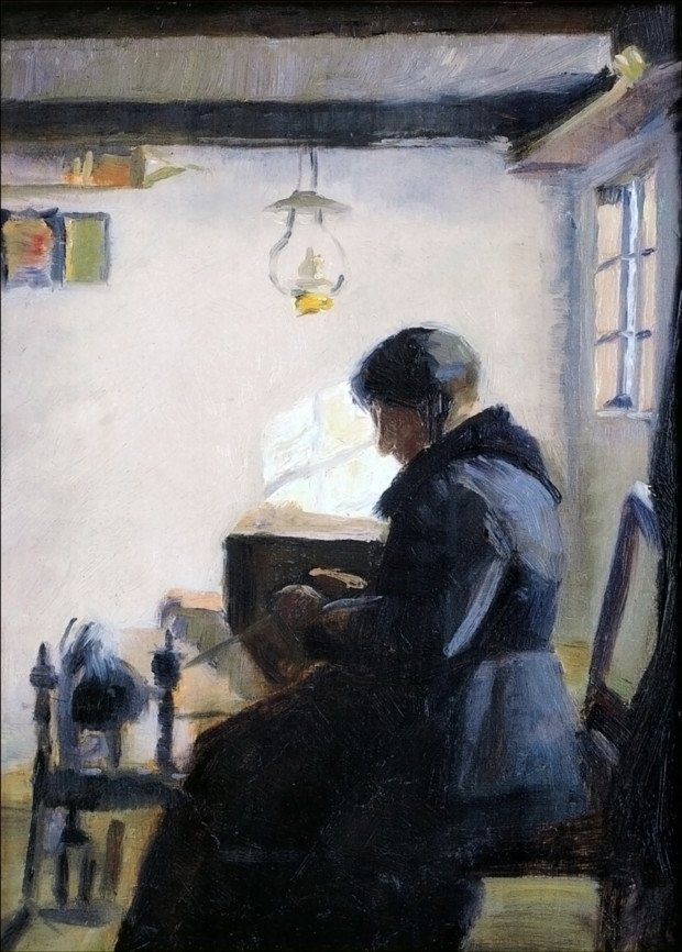 Marie Krøyer, Woman Spinning, 1887, private collection. Ocean's Bridge.