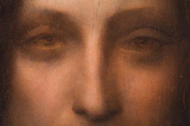 Leonardo da Vinci (attributed), Salvator Mundi, circa 1500, detail