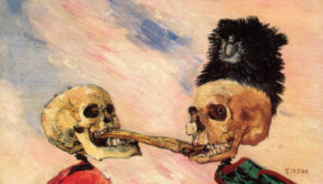 James Ensor, Skeletons Fighting over a Pickled Herring