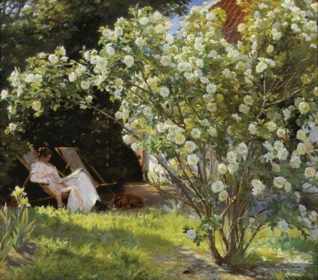 Peder Severin Krøyer, Roses. Marie Krøyer seated in the deckchair in the garden by Mrs Bendsen's house, 1893, Skagens Museum, Skagen, Denmark.