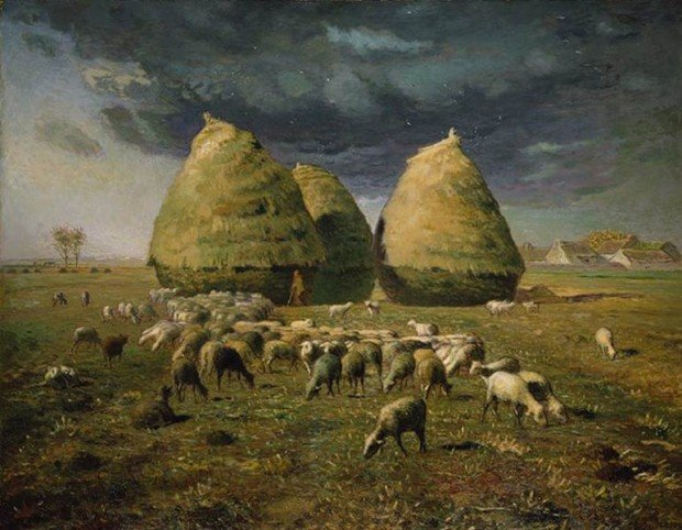 autumn paintings by famous artists Jean-Francois Millet, Haystacks Autumn, 1873, private collection