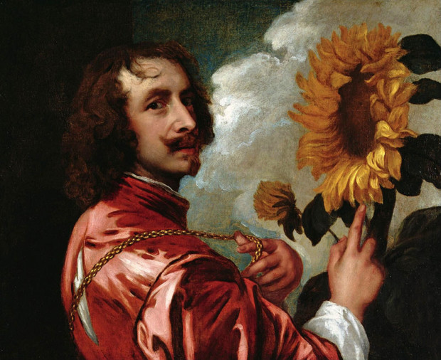 Anthony van Dyck, Self-portrait with a sunflower, 1632–33, collection of the Duke of Westminster, moustache art