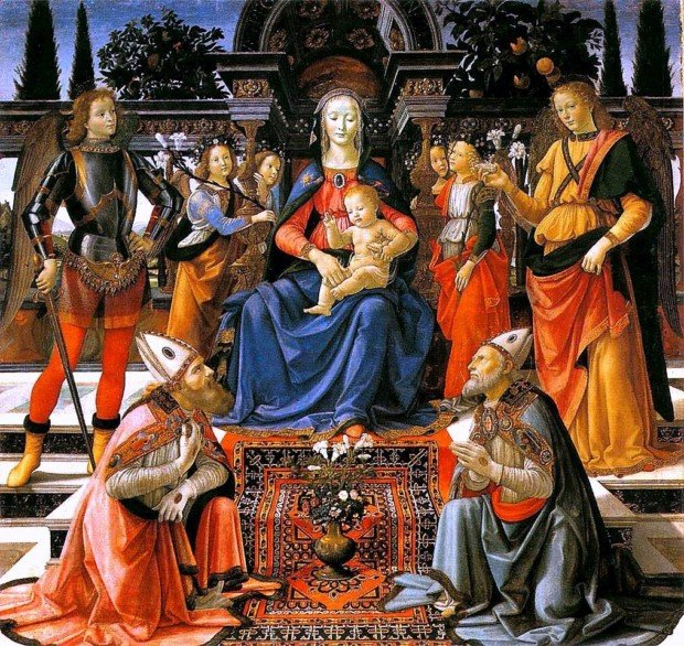 Domenico Ghirlandaio Madonna and Child enthroned with Saint, circa 1483, Uffizi, Florence, ottoman carpets in Renaissance Paintings