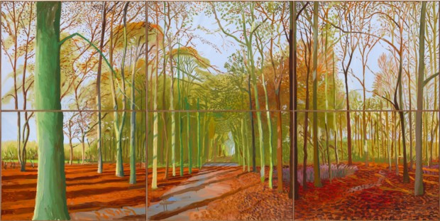 autumn paintings by famous artists David Hockney, Woldgate Woods, 2008, private collection