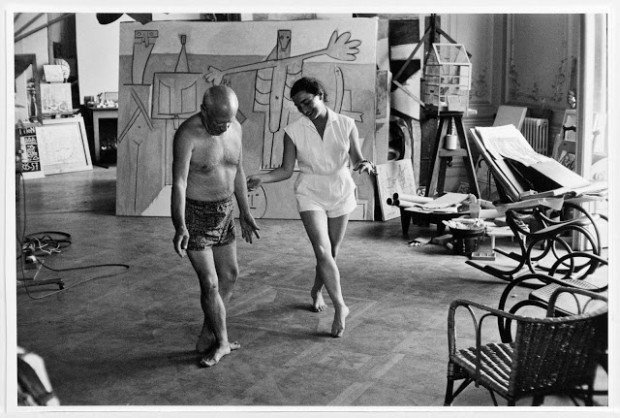 Jacqueline trying to teach Picasso a ballet routine, 1957, Pablo Picasso and his Women