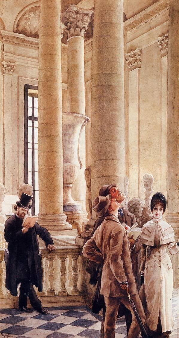 James Tissot, At the Louvre (Foreign Visitors at the Louvre), 1879-80, private collection landmarks