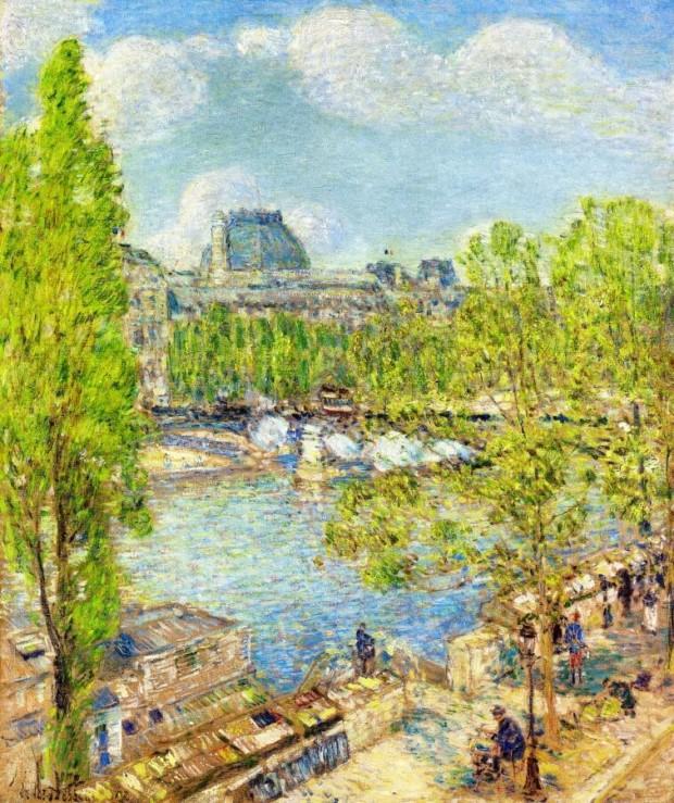 April, Quai Voltaire, Paris by Childe Hassam Parisian landmarks