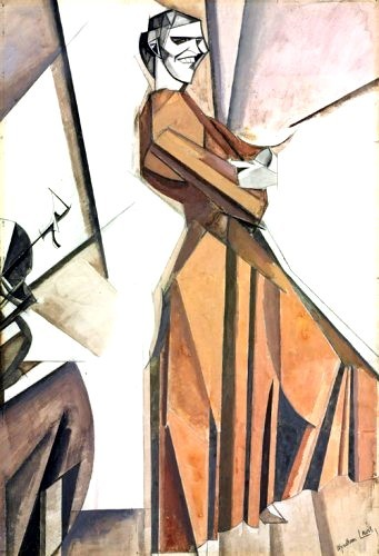 Wyndham Lewis: Life, Art, War - Smiling Woman Ascending a Stair c1911-1912 Private Collection