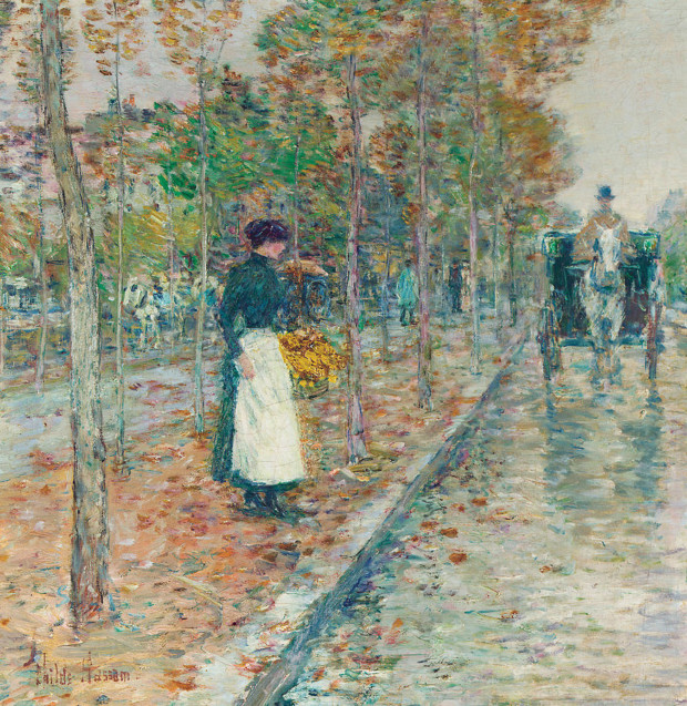 autumn paintings by famous artists Childe Hassam, Autumn Boulevard, Paris, autumn paintings created by famous artists
